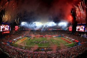 Fireworks erupt after the Tampa Bay Buccaneers defeated the Kansas City Chiefs in Super Bowl LV at Raymond James Stadium on February 07, 2021 in Tampa, Florida. The Buccaneers defeated the Chiefs 31-9.